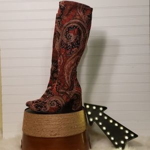 Diba Fabric Fall Colors Paisley Print Boots